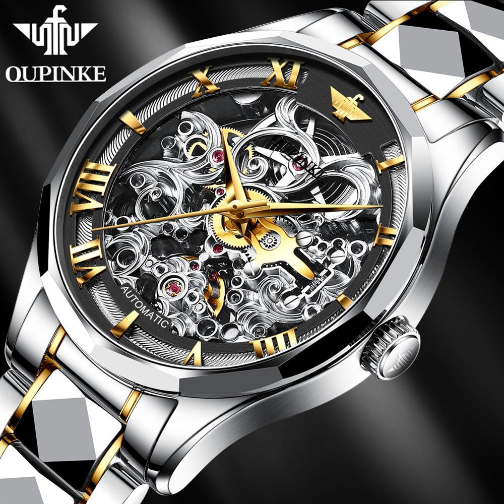 Relógio de Pulso Oupinke Luxo Marca Relógios Masculinos Safira Automático Preto Relógio Esqueleto Impermeável Masculino Mecânico Reloj Hombre 2021