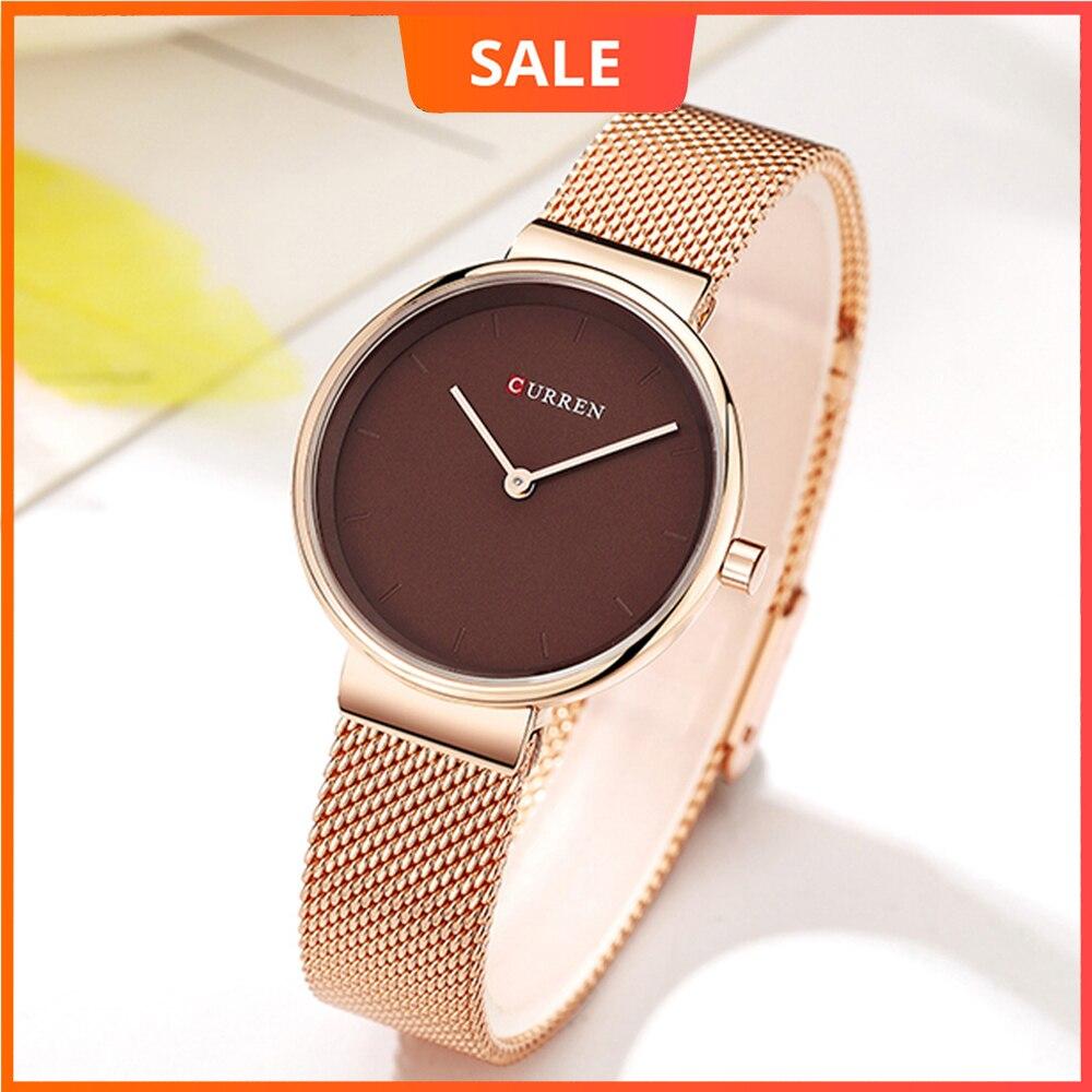 Reloj de pulsera de malla para mujer, reloj de pulsera de cuarzo CURREN de acero inoxidable, reloj de pulsera de mujer