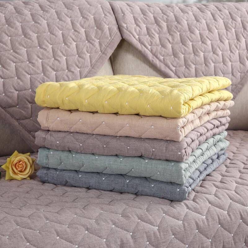 Cotton Sofa Cover For Living Room Solid Color Dirt-proof Sofa Cover Elastic Protect Pet Dog Cushion Mat 1-3 Seats Sofa