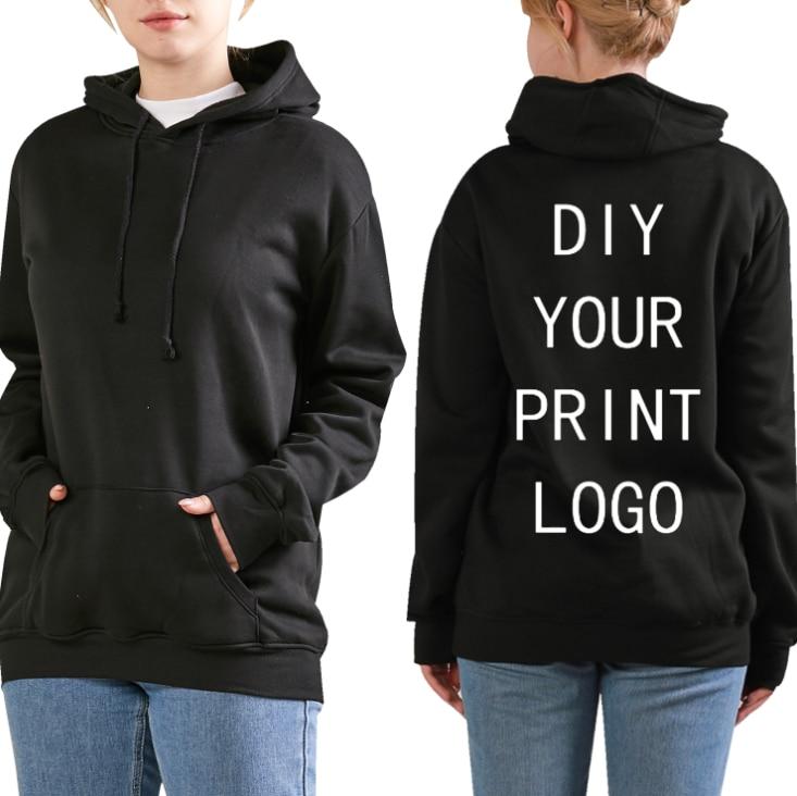 Худи с принтом логотипа «сделай сам», толстовки с капюшоном на заказ для женщин, уличная одежда в стиле хип-хоп, однотонные толстовки унисек...