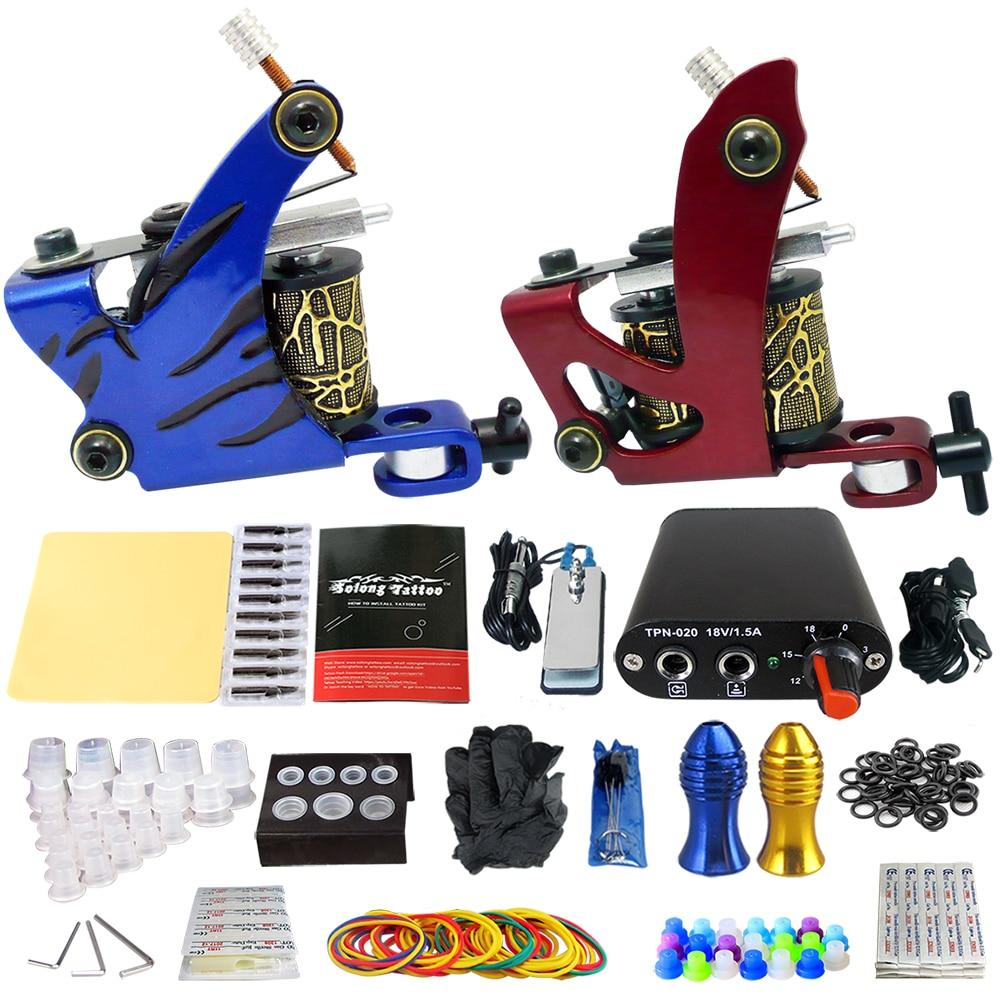 Professional Complete Tattoo Machine Kit 2 Machines Power Supply Box Beginner Body Art Supplies Needles Tips