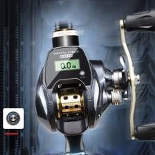 Moulinet de pêche Baitcasting, avec roulement à billes, 7.01, compteur de ligne, affichage LED numérique