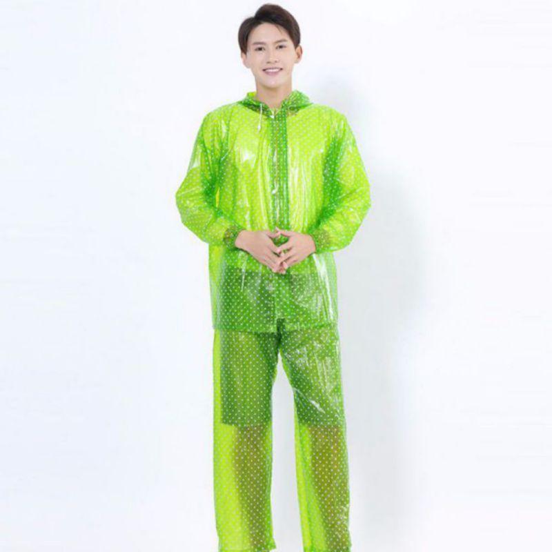 Impermeable EVA adulto Split transparente Polka Dot impermeable pantalones de lluvia engrosado impreso cremallera Set Poncho