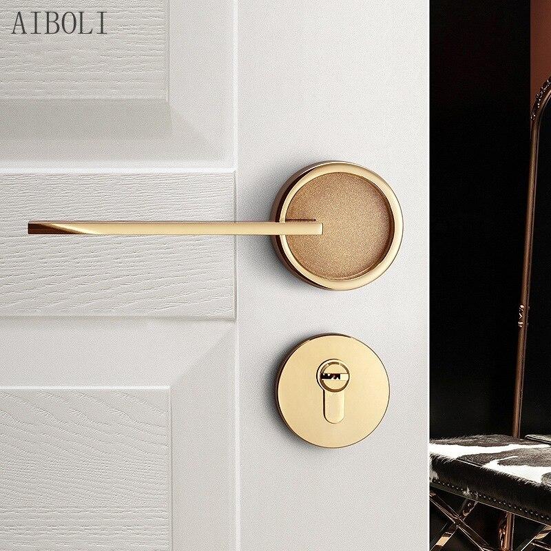 الذهبي مقبض الباب قفل داخلي غرفة نوم الشمال الصامت سبليت قفل الباب غرفة الباب المنزلية مقبض الباب قفل الباب