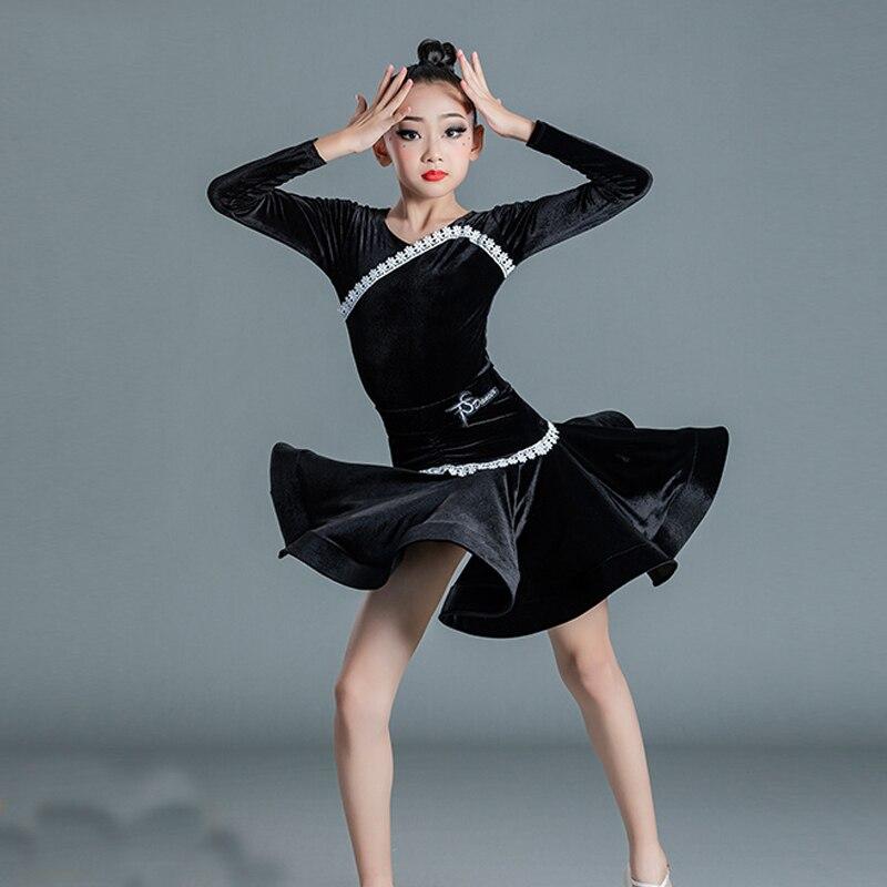 ملابس رقص اللاتينية للأطفال للفتيات ذات أكمام واحدة مكشكشة فستان مهدب تنانير للأطفال أداء المرحلة ملابس الرقص SL5670