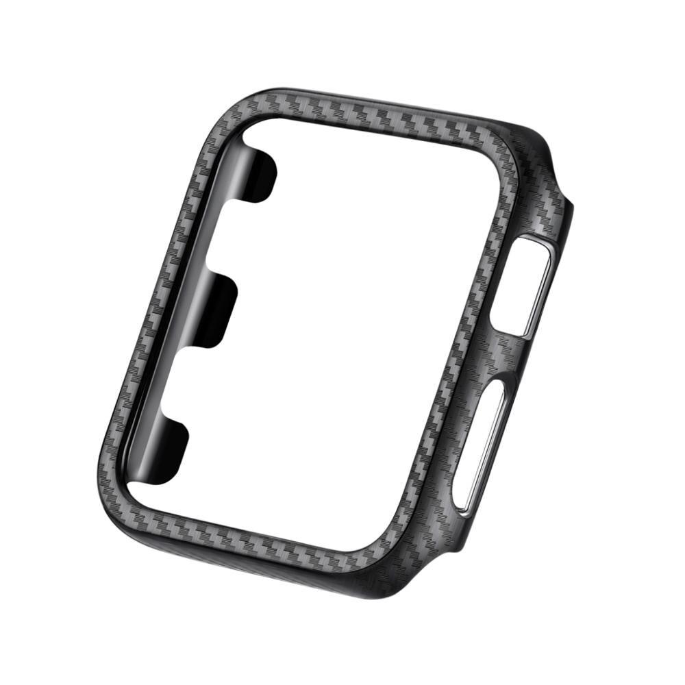 Carcasa protectora de PC para carcasa de reloj Apple Series 3 2 38mm 42mm carcasa de reloj de fibra de carbono marco parachoques para iWatch 5 4 40mm 44mm
