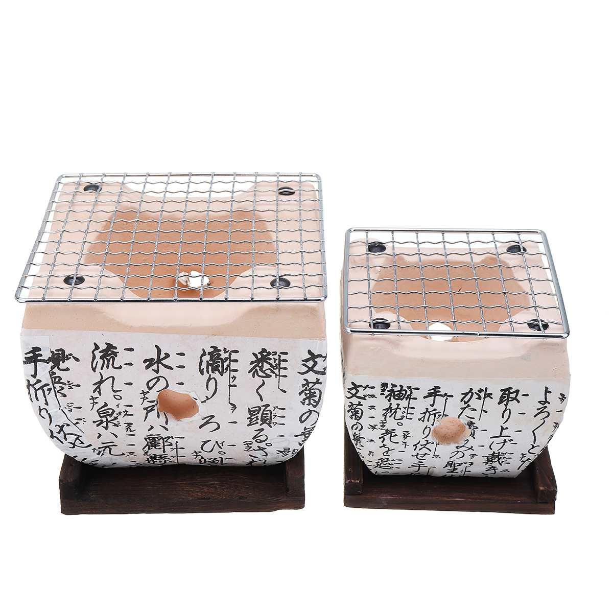 New Japanese Korean Style BBQ Grill Charcoal Stove Konro Ceramic Hibachi Yakitori Camping Barbecue BBQ Accessories Tools 2 Sizes