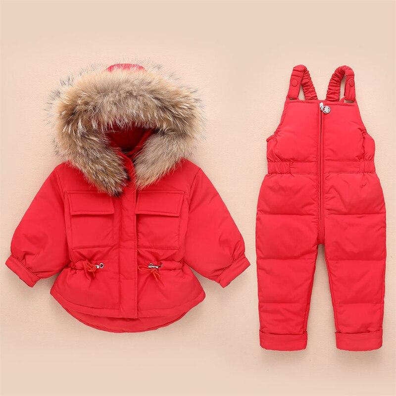 سترة شتوية بقلنسوة من الفرو الحقيقي سترة شتوية للأطفال معطف دافئ للأطفال بدلة ثلج للأطفال ملابس للفتيات في سن الحبو