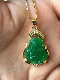 Chinesische Grüne Jade Glück Buddha anhänger + kostenloser kette halskette