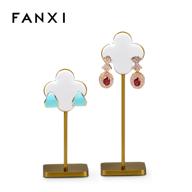 Fanxi Newest White Jewelry Metal Earring Display Rack Petal Shape Showing Stand Organizer for Jewelry Insert Ear display Stand wholesale 10pcs hat display stand stainess steel cap display rack adjustable metal men women s wig hairpiece holder showing prop