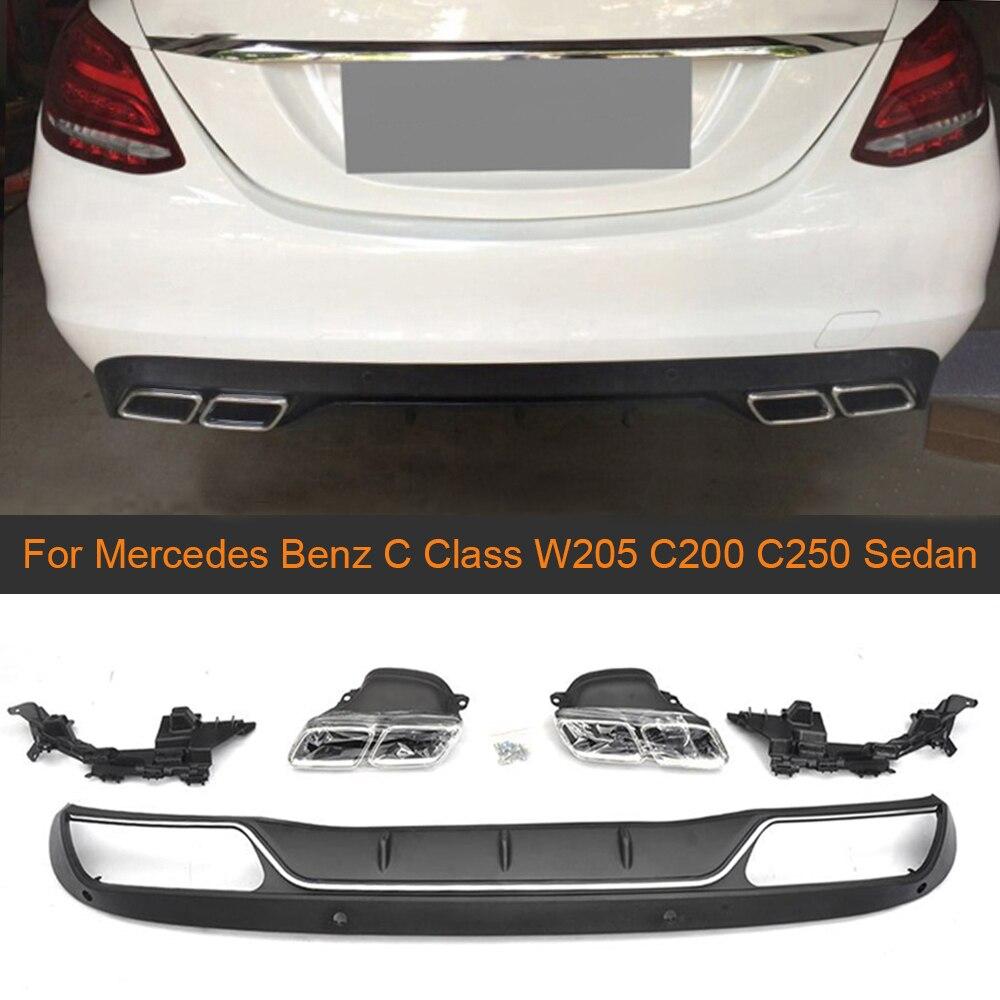 Difusor traseiro dos pp para mercedes benz c classe w205 c200 c250 sedan 4-door 2015-2017 não esporte c63 difusor com pontas de escape