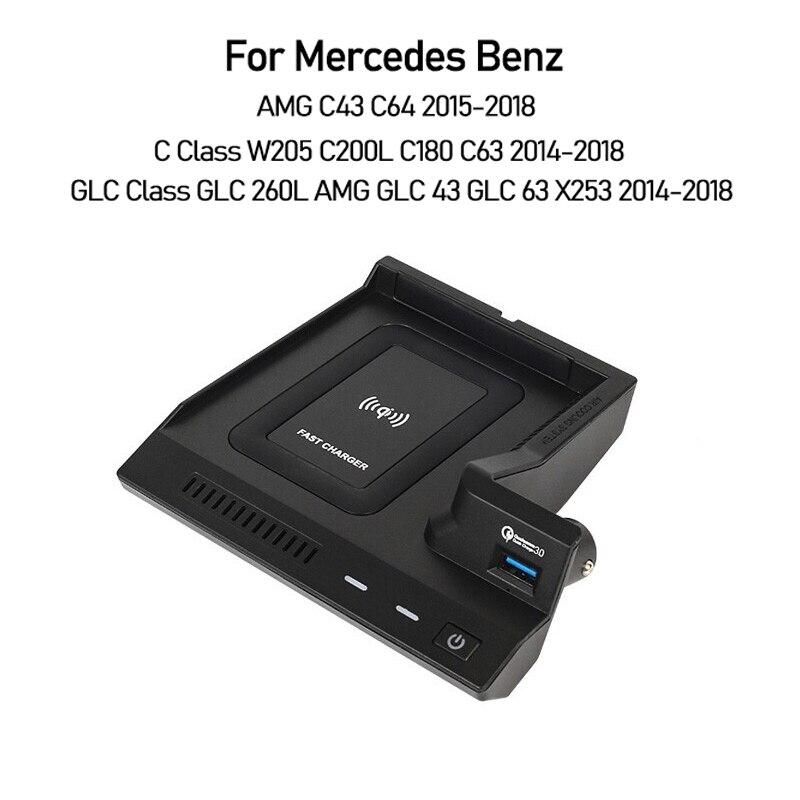 شاحن سيارة USB لمرسيدس بنز W205 C43 C63 AMG GLC 43 GLC63 X253 C-Class GLC الهاتف المحمول سريع QI لوحة شحن لاسلكية
