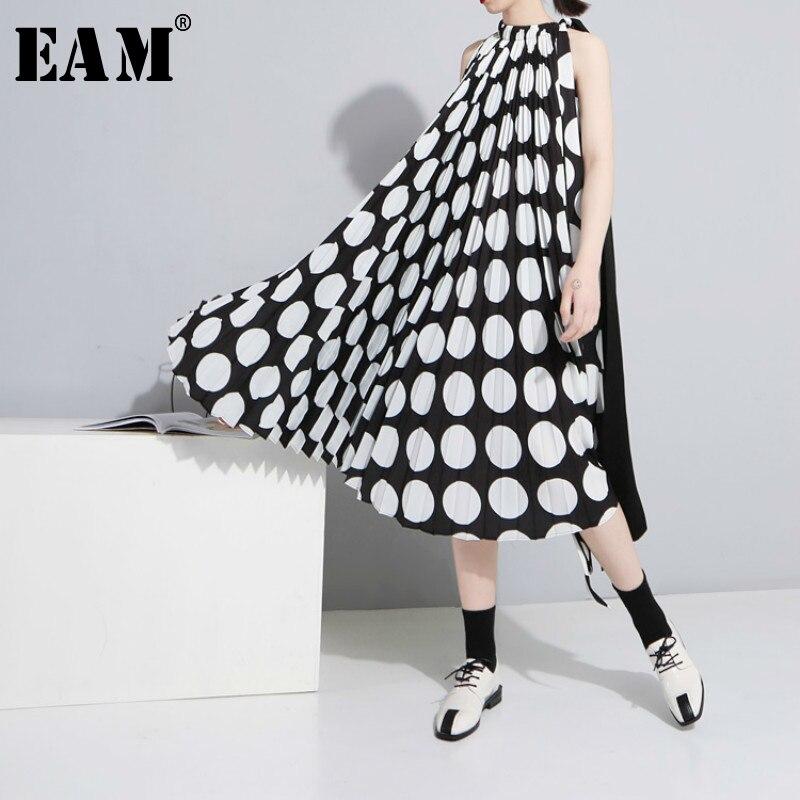 [EAM] 2020 wiosna lato nowy wzór mody zakładka czarno-białe szwy Dot szyfonowa luźny, modny damski strój YC41801