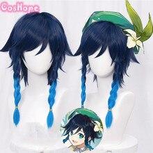 Genshin Impact Venti Cosplay Unisex 50cm Blue Wig Cosplay Anime Cosplay Braid Wigs Heat Resistant Synthetic Wigs Halloween