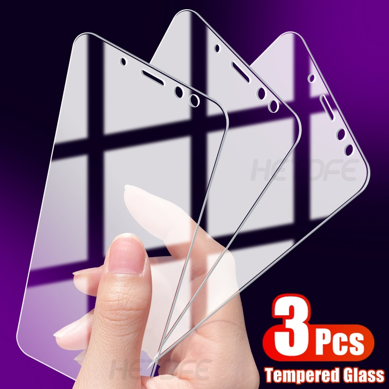 3Pcs Protective Glass For Samsung Galaxy J4 J6 A6 A8 Plus 2018 Tempered Screen Protector J2 J8 A5 A7 A9 2018 Safety Glass Film
