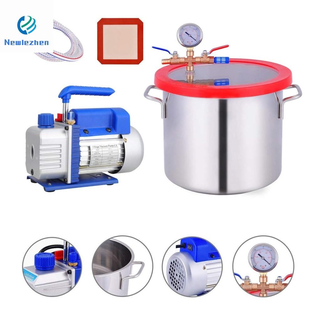 Stainless Steel 2-6Gallon + Vacuum Pump  Degassing Silicone    Defoaming Deaeration Vacuum Chamber Sealer Kit