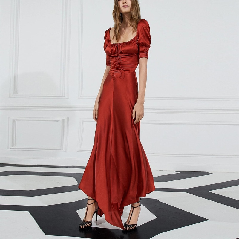 Annual Party Dress Female Red Dress Party Silky Satin Skirt Long Dress Slim Temperament Dress  Dress фото