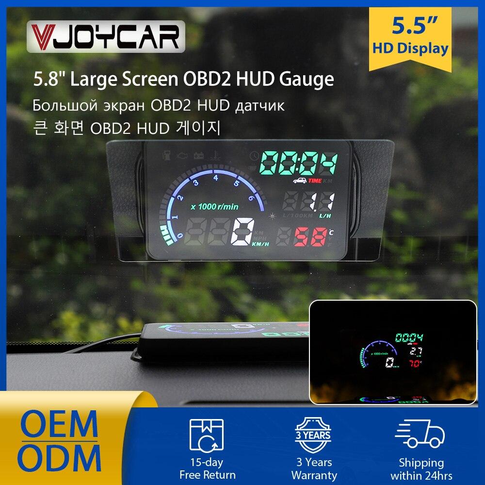 HUD-شاشة عرض أمامية للسيارة 5.8 بوصة A8 LED ، ماسح ضوئي للسيارة ، OBD ، إنذار السرعة ، أداة تشخيص البيانات 4 بوصة K6 ، OBD2