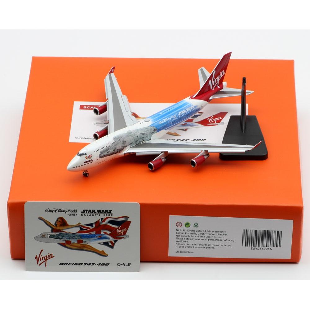 1:400 Alloy Collectible Plane JC Wings EW4744006A Virgin Atlantic Boeing B747-400 Diecast Aircraft Jet Model G-VLIP Flaps Down