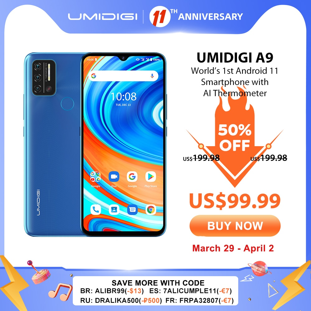 In Stock UMIDIGI A9 Smart Phone Android 11 Global Version 13MP AI Triple Camera Helio G25 Octa Core 6.53