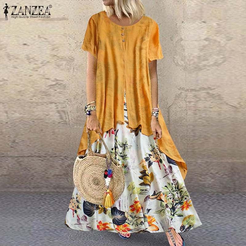 Bohemian Print Maxi Dress Womens Summer Sundress 2020 ZANZEA Casual Short Sleeve Patchwork Vestido Female Floral Irregular Robe