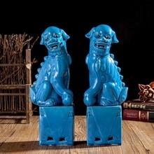 1 paar Porzellan Foo Lion Foo Hunde Keramik Figur Statue Für Home Dekoration