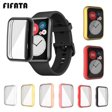 FIFATA TPU Soft Protective Cover For Huawei Watch Fit Case Full Screen Protector Shell Bumper Plated