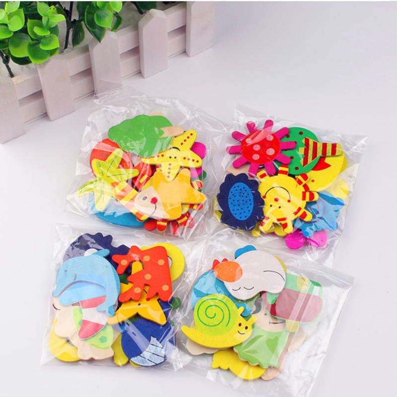 aliexpress.com - 12pcs  Animals Wooden Cartoon Fridge Magnet Sticker Cute Funny Refrigerator Toy Colorful Educational Kids Toys For Children Baby