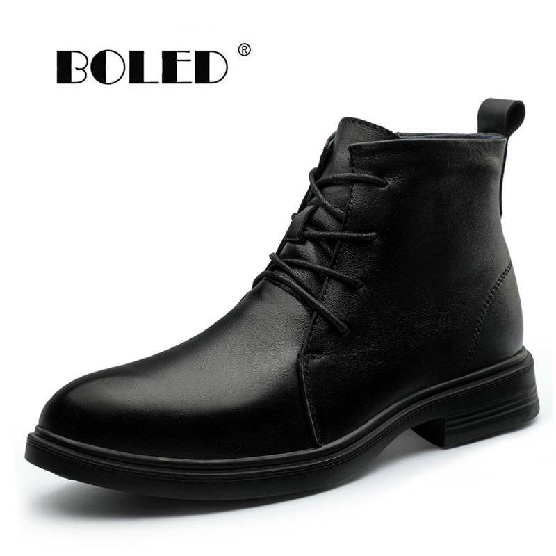 surom brand men s boots big size warm plush male leather shoes work boot warm fur winter casual snow sneakers mens ankle boots Quality Natural leather Autumn Winter Shoes Waterproof Antiskid Outdoor Ankle Snow Boots Men Warm Plush Fur Men Boots Shoes