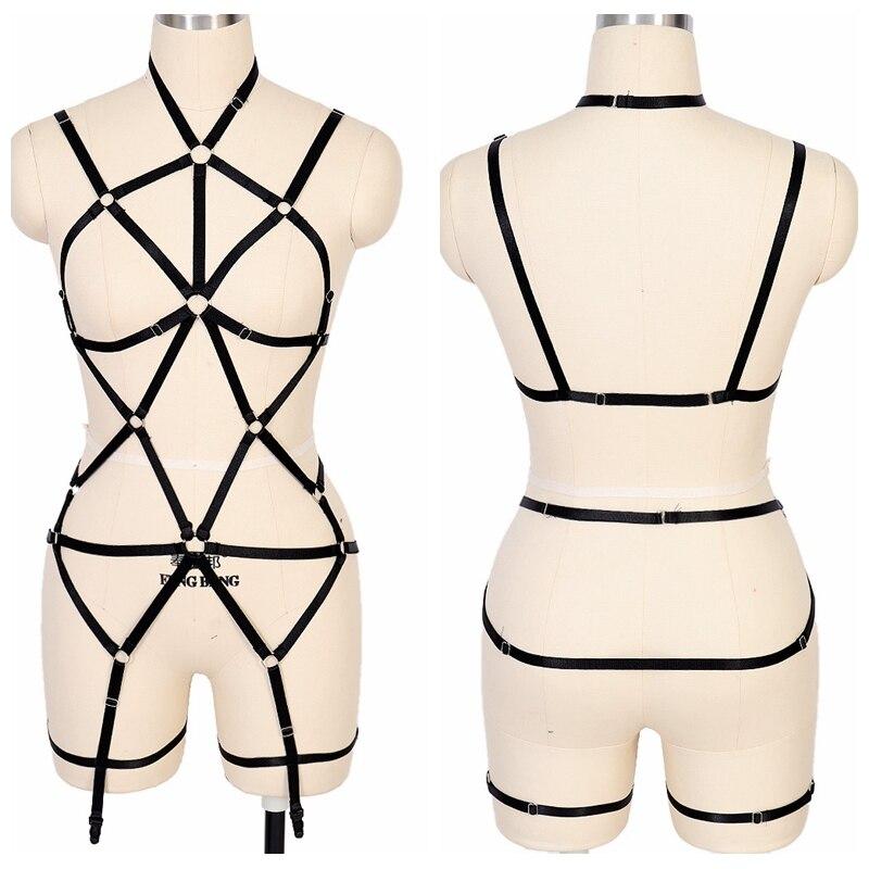 Full Body Harness Black Strappy Chest Belt Garter Waist Cage Suspender Stockings Punk Goth Plus Size Elastic Lingerie Dance Wear