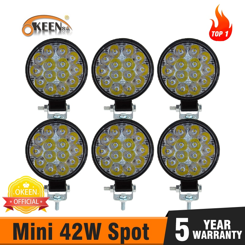 OKEEN 6pcs 42W led bar 12v Car Work Light Spot Beam Bar Car SUV ATV Off-Road Driving light IP68 for tractor 4x4 led SUV DRL