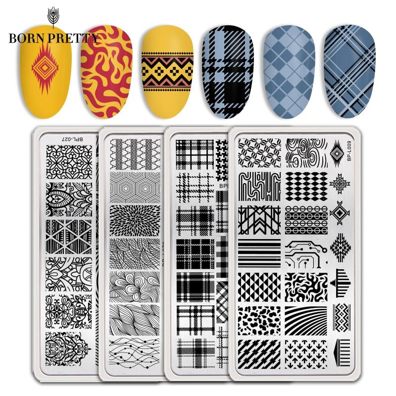 Moldes de carimbo para unhas, placas de estampagem irregular para unhas, arte de unha, estêncis, ferramentas de manicuragem