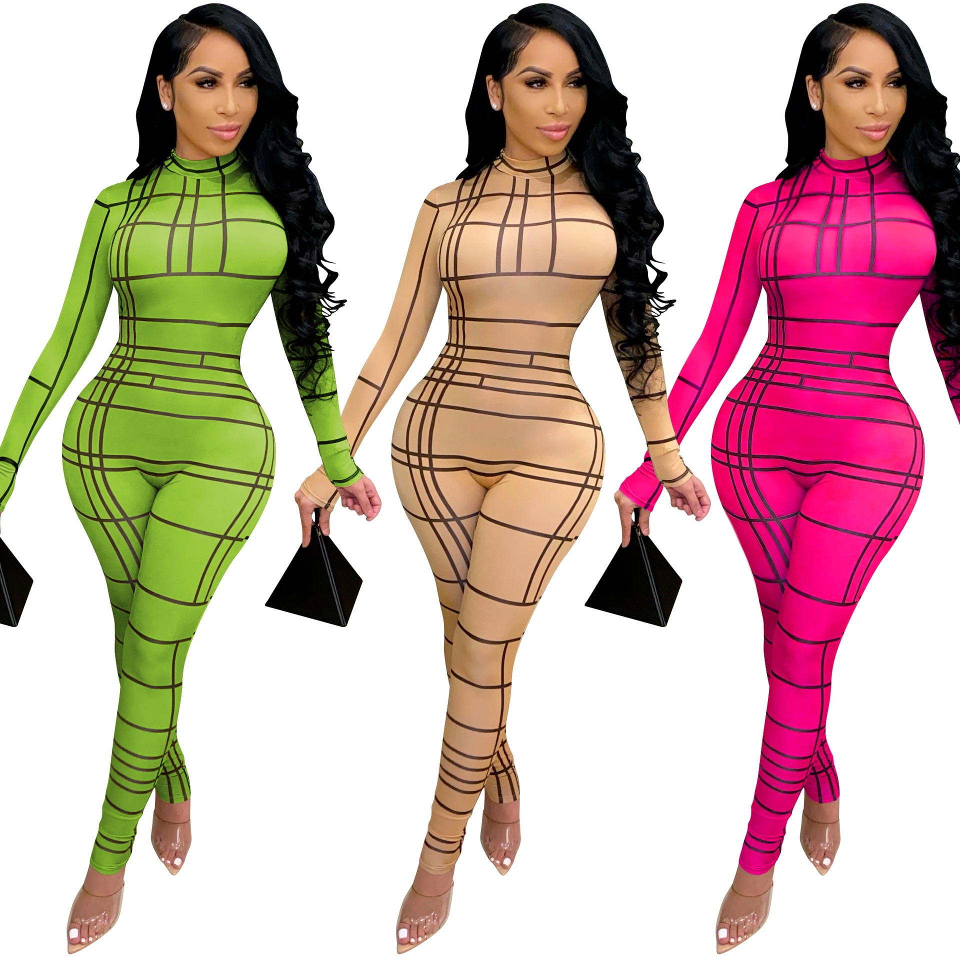 Sexy Individual Lines Bodycon Jumpsuit 2021 Fashion Long Sleeve Zipper Skinny Romper Night Club Overall Outdoor One Piece