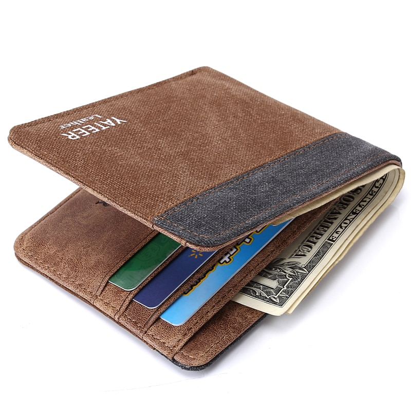 Men Fashion Wallets Canvas Fabric Short Purses Wallet Cards ID Holder Money Mini Bags Coin Purse Bur