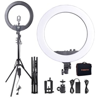 Fusitu RL-18BII LED Ring Light 3200-5600K Lamp Photographic Light For Camera Youtube Photo Video Makeup&Tripod Battery Slot