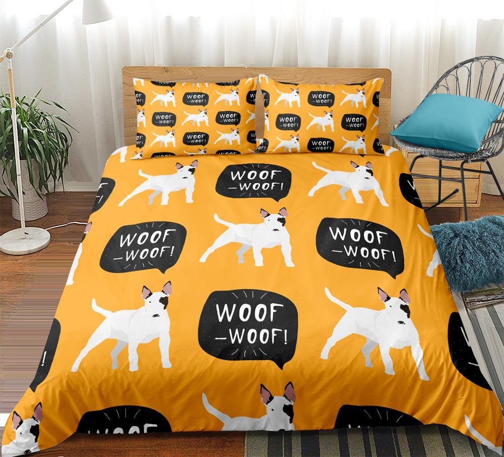 Cartoon Dog Bedclothes set Cute animals Duvet Cover set kids teen quilt cover Yellow home textiles Bedding set King size 3pcs