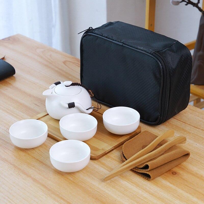 إبريق شاي من السيراميك غلاية Gaiwan الصينية السفر السيراميك فنجان شاي ل Puer براد شاي صيني المحمولة طقم شاي درينكوير هدية Kongfu الشاي