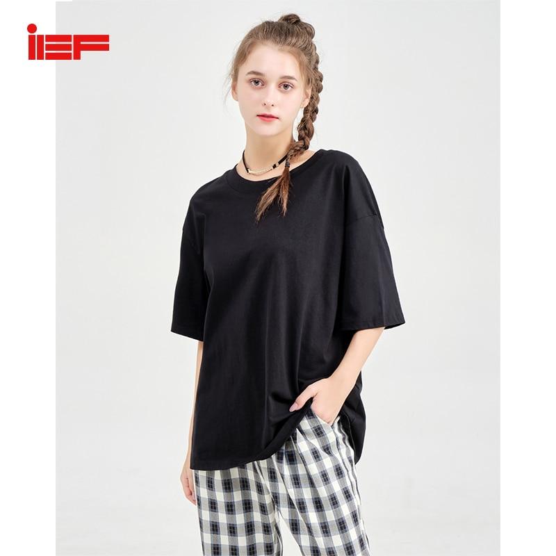 IEF verano Mujer camiseta Casual suelta sólida media manga cuello redondo femenino Camisetas largas ropa de mujer 0706G-D6014-7-