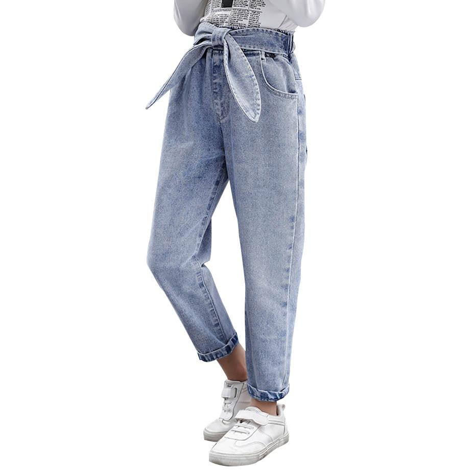 Детские джинсы для девочек, модные однотонные джинсы с бантом для девочек, повседневная осенняя одежда для девочек 6, 8, 10, 12, 14 лет, 2020 Джинсы    АлиЭкспресс
