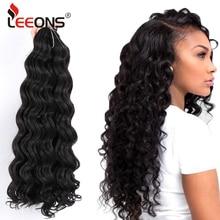 Leeons-extensiones de cabello sintético con ondas al agua, mechones de pelo ondulado de ganchillo, 20 pulgadas, ombré