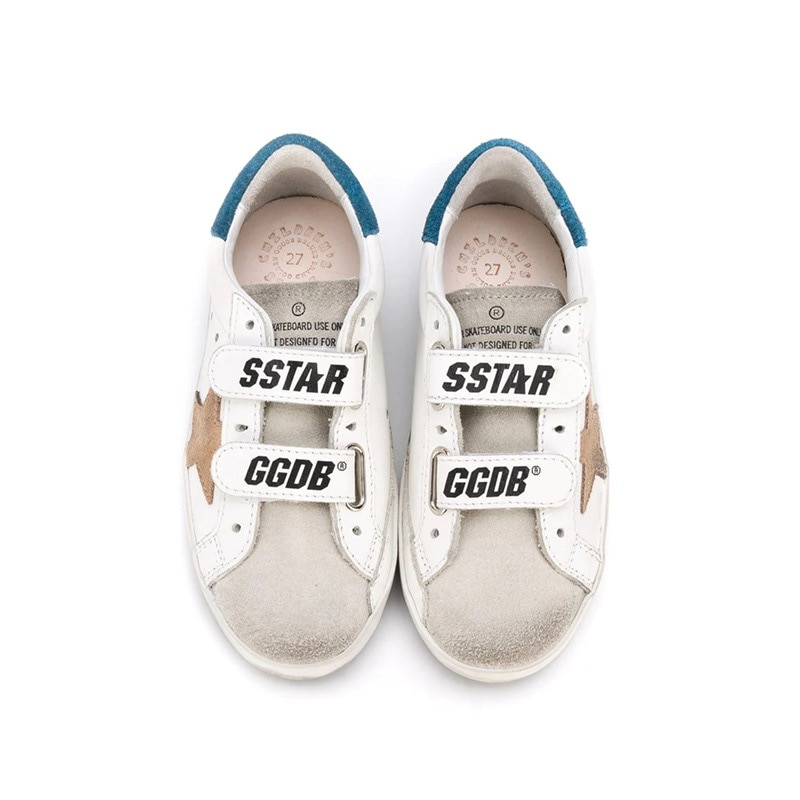 Children's Spring  New First Layer Cowhide Old Small Dirty Shoes for Boys /Girls Casual Blue Tail Velcro Kids Sneakers CS182 enlarge