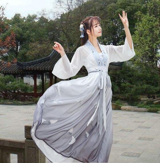 Wind hanfu-زي الجنية الأنثوي ، رافعات مزدوجة الصدر ، تنورة شيفون من عناصر هان ، الصدر ، Ru ، تنانير ثنائية الأداء
