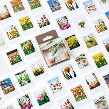 46 pcs/box Vintage season of Tulip Bullet Journal Decorative Washi Stickers Scrapbooking Stick Label Diary Album Stickers