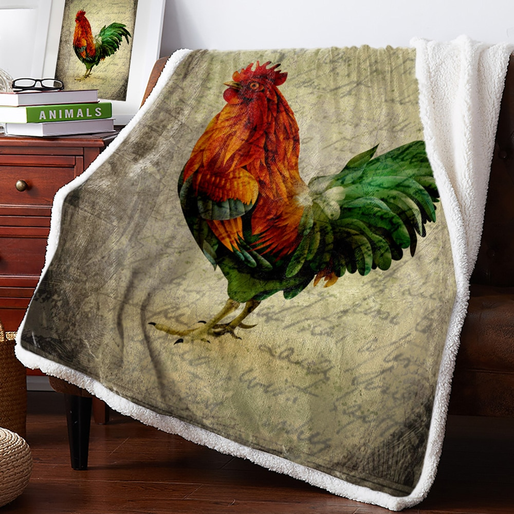 Gallo de Animal Retro, mantas suaves rústicas de granja para camas, sofá de oficina, colcha de felpa, colcha, colcha, envío directo