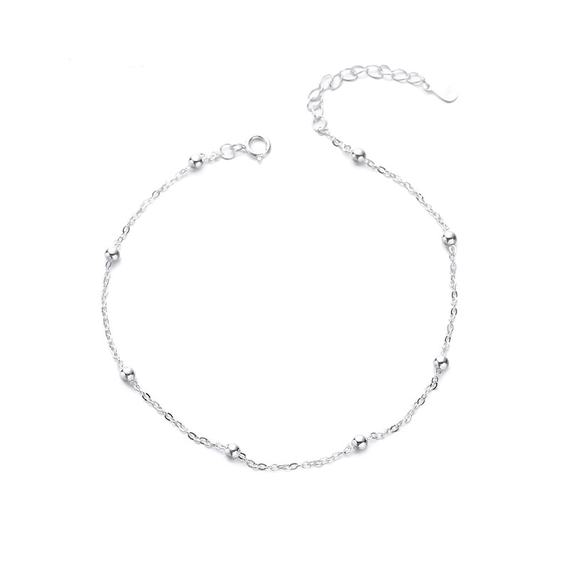 Summer Fashion 925 Sterling Silver Chain Anklets For Women Beach Party Beads Ankle Jewelry Girl Best