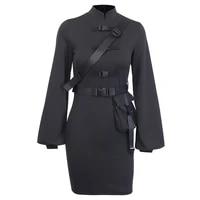 autumn winer new fashion cheongsam skirt female improved shoolbag buckle lantern sleeve skirt european american style