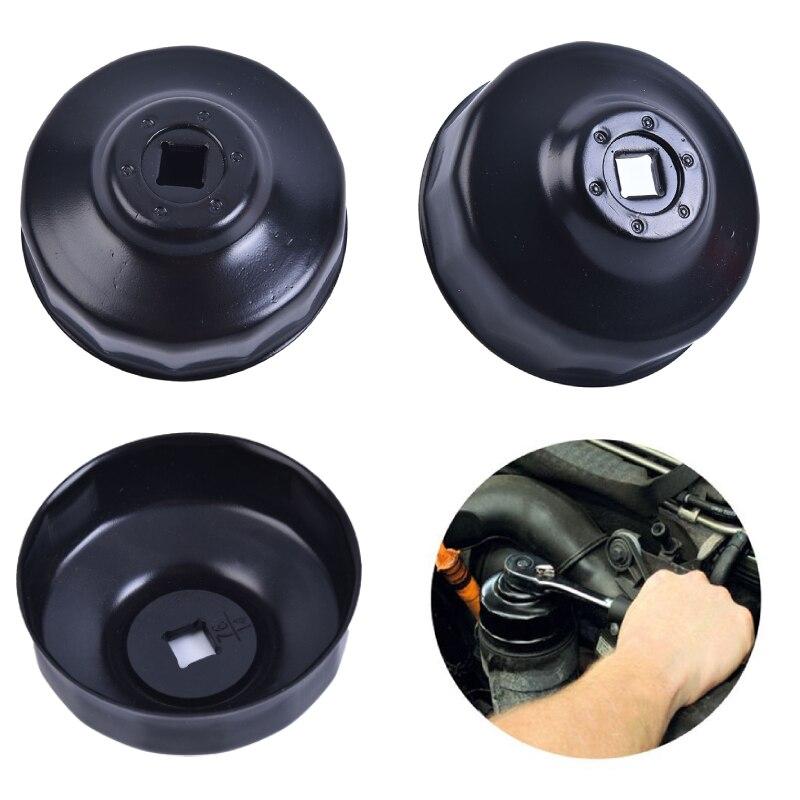 """Aço preto 76mm 14 flautas tipo tampa do filtro de óleo do carro chave com 3/8 """"tomada de acionamento"""