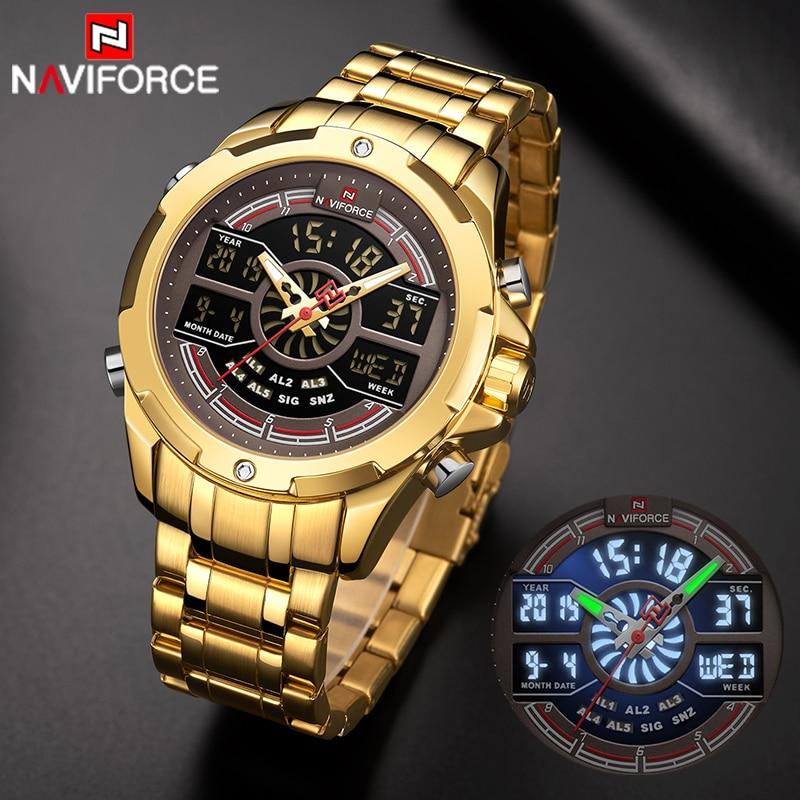 New NAVIFORCE Watch Men Military Sport LED Digital Quartz WristWatch Date 30M Waterproof Steel Strap Clock Relogio Masculino
