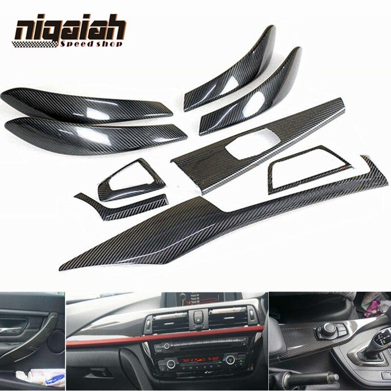 Carbon Fiber Door Handles Cover Panel Air Vent Gear Shift Knob Trim For BMW F30 F32 F33 F36 4-Door Car Styling Interior Parts