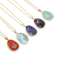small pendant necklace natural stone faceted gilt edge charms for men women banquet party wedding jewelry gifts 23x34mm